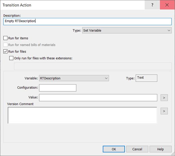 SOLIDWORKS Transition Action Empty RTdescription