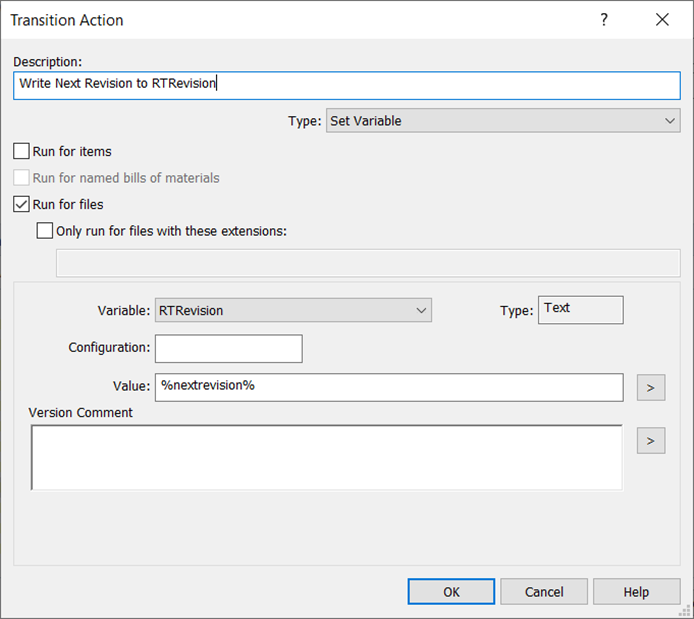 SOLIDWORKS Transition Action Write Next Version RTrevision