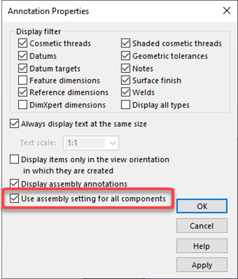 SOLIDWORKS Use Assembly Settings for All Components