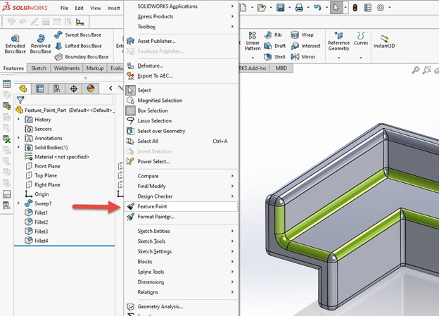 SOLIDWORKS Utilities Feature Paint Location
