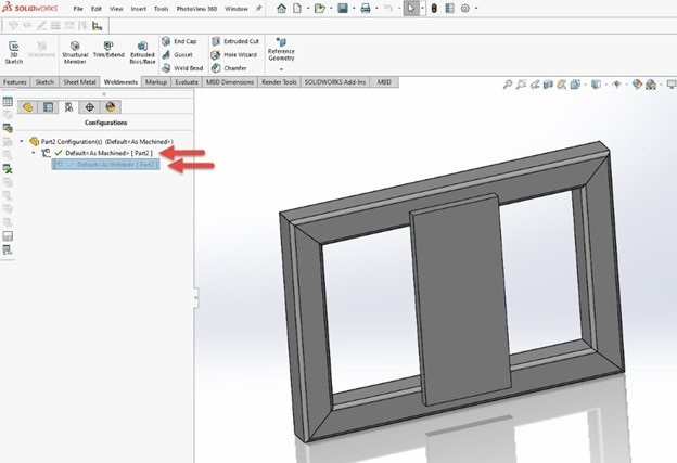 solidworks weldment configurations