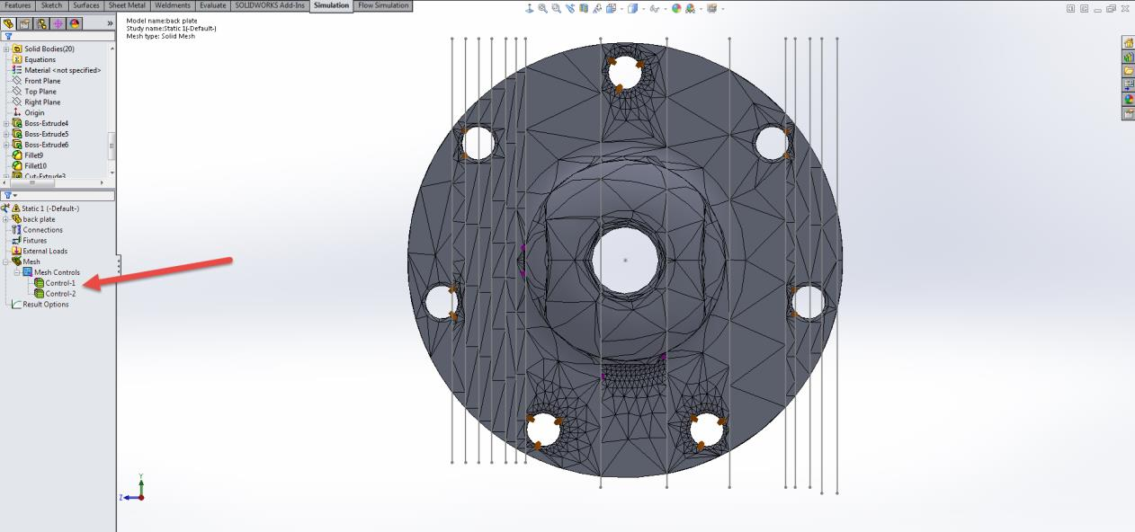 Specified Mesh Control Fault and Geometry Cleanup in SOLIDWORKS Simulation