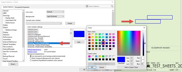 Specifying the Color of Model Edges in SOLIDWORKS