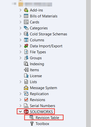 Turn on Revision Table Integration in SOLIDWORKS PDM