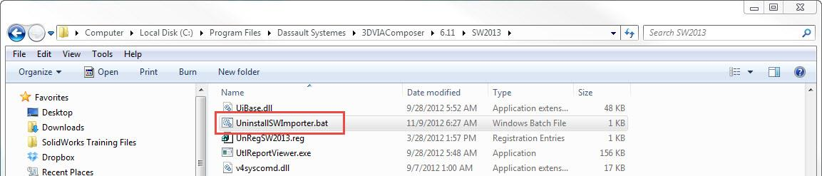 Uninstall SOLIDWORKS importer