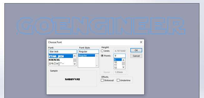 Using a Downloaded Font in SOLIDWORKS