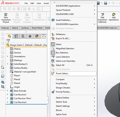 Using Power Select in SOLIDWORKS Utilities