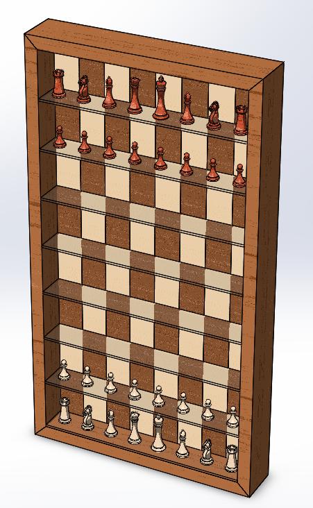 Vertical Chess Board CAD Design