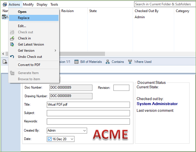 Virtual Document Replacement SOLIDWORKS PDM