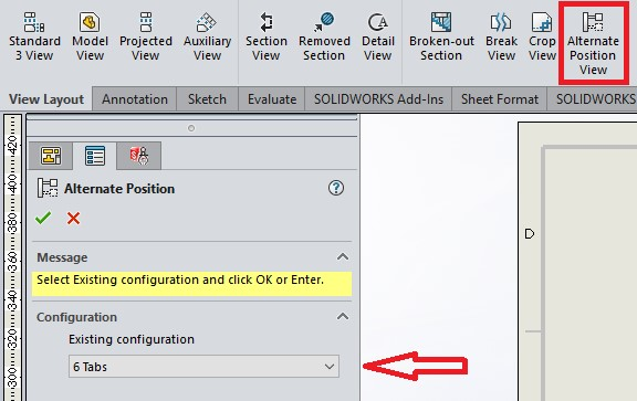 solidworks 2020 alternate positions view of parts
