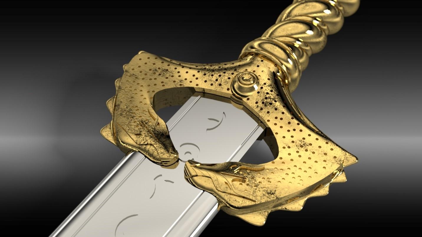 Wonder Woman Sword Handle SOLIDWORKS Visualize