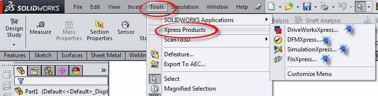 xpress tools in solidworks
