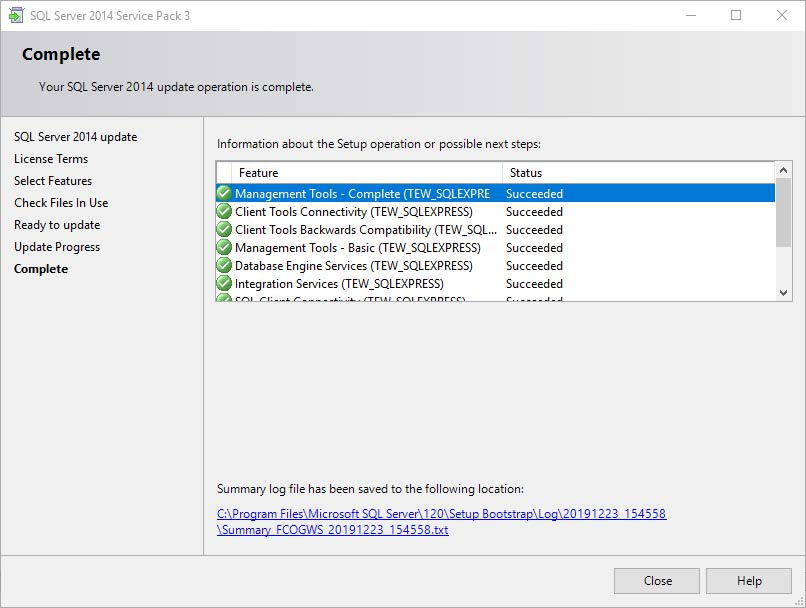 Your SQL Server 2014 update operation is complete screen